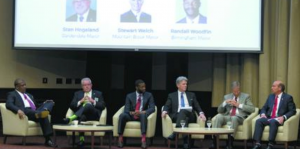 Jefferson County Mayors Kenneth Gulley, Bessemer; Stan Hogeland, Gardendale; Randall Woodfin, Birmingham; Stuart Welch, Mtn. Brook; Ashley Curry, Vestavia Hills; Frank Brocato, Hoover (photo courtesy BBJ)