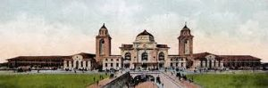 Hand colored postcard from a photograph of the Birmingham Terminal Station taken in 1909